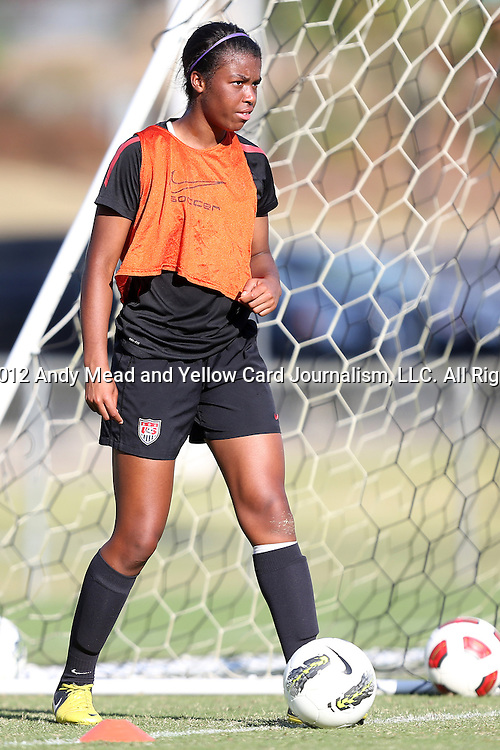 25 October 2012: Kailey Mattison. The United States Girl's Under-14 National Team (1988s) held a training camp at WakeMed Soccer Park in Cary, North Carolina.