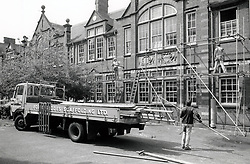 Scaffolding on a school Birmingham, UK 1987