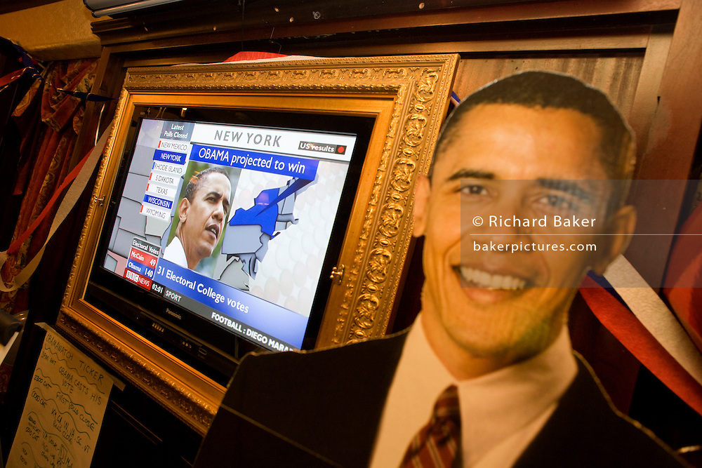 Live Sky News broadcasts latest results with life-size cardboard cut-out of Barack Obama during 2008 elections