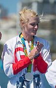"Rio de Janeiro. BRAZIL.   Zoe LEE, GBR W8+ Silver Medalist, awards dock. 2016 Olympic Rowing Regatta. Lagoa Stadium,<br /> Copacabana,  ""Olympic Summer Games""<br /> Rodrigo de Freitas Lagoon, Lagoa.   Saturday  13/08/2016 <br /> <br /> [Mandatory Credit; Peter SPURRIER/Intersport Images]"