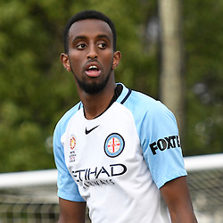 BRISBANE, AUSTRALIA - DECEMBER 3: Yusuf Ahmed of the City looks on during the round 4 Foxtel National Youth League match between the Brisbane Roar and Melbourne City at AJ Kelly Field on December 3, 2016 in Brisbane, Australia. (Photo by Patrick Kearney/Brisbane Roar)