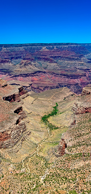 Vertical panoramic view of South Rim in Grand Canyon, National Park. The Grand Canyon is a steep-sided gorge carved by the Colorado River in the United States in the state of Arizona. This is  one of the first national parks in the United States