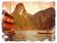 Ha long Bay, Vietnam - Forgotten Postcard digital art collage
