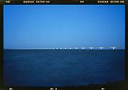 The Zeeland Bridge late evening. Zeeland province, Netherlands.