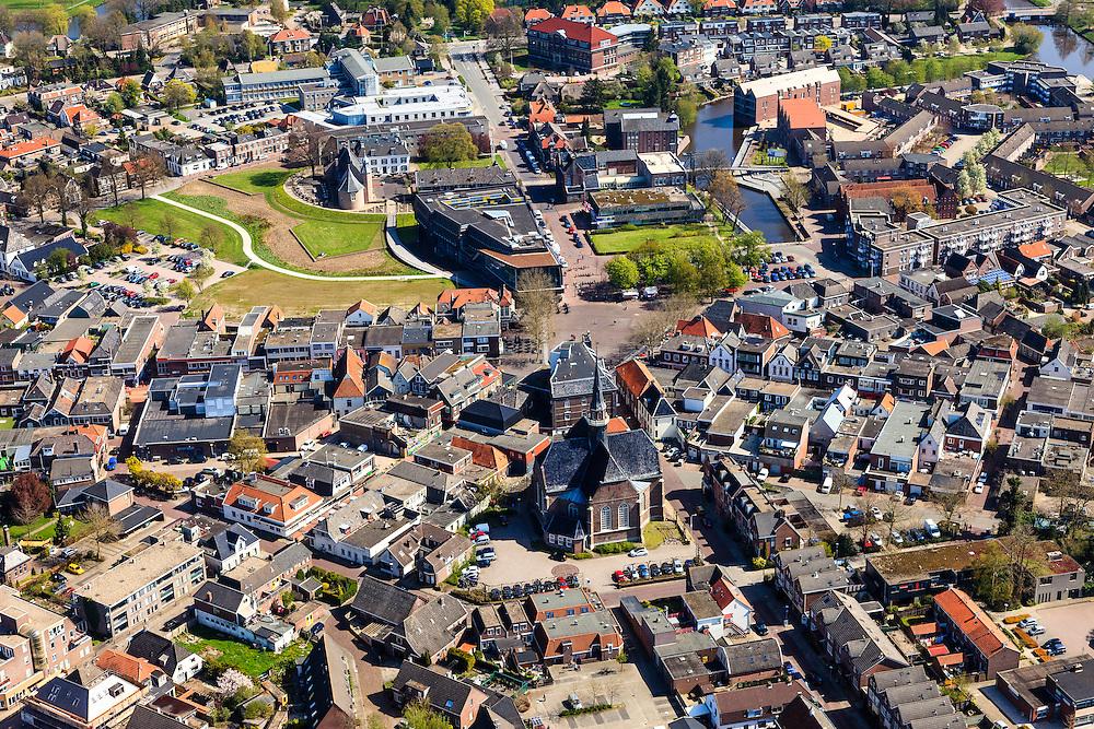 Nederland, Drenthe, Coevorden, 01-05-2013;<br /> centrum van de stad met rond de Markt het Kasteel van Coevorden en Hof van Coevorden. Haven en Arsenaal rechtsboven.<br /> Town centre Coevorden.<br /> luchtfoto (toeslag op standard tarieven)<br /> aerial photo (additional fee required)<br /> copyright foto/photo Siebe Swart