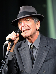 File photo dated 19/6/2008 of singer, songwriter and poet Leonard Cohen, who has died aged 82. He is pictured performing on the Pyramid stage at the Glastonbury Festival.