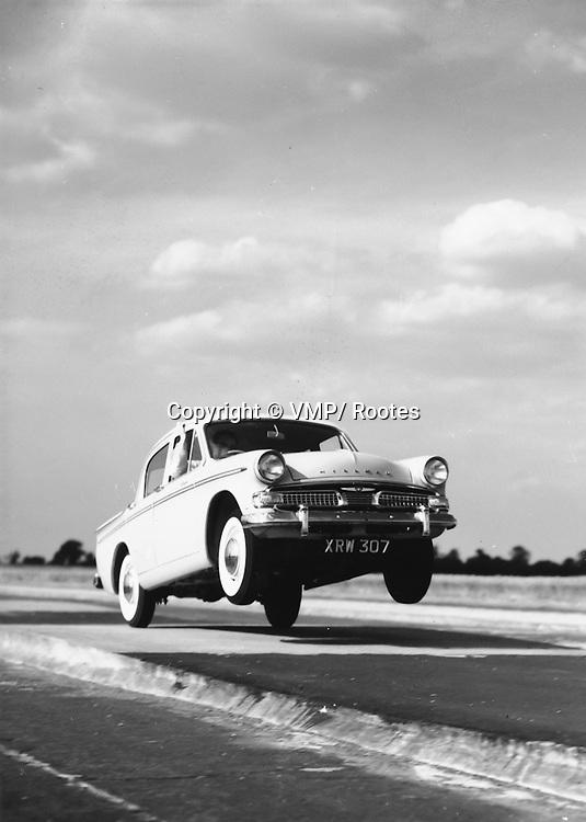 1959 Hillman Minx de-Luxe Saloon undergoing tests at Motor Industry Research Association's (MIRA) proving ground, Hillman Press Office