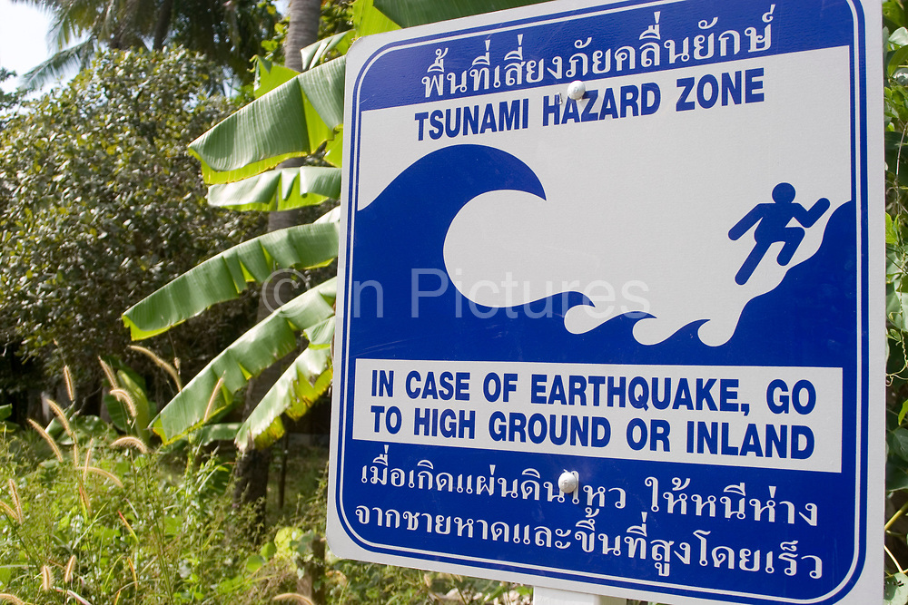 Tsunami warning sign on Koh Lanta. This are was hit hard by the Tsunami of 2004, so signs such as this are a common sight. Also there are regular tests of equipment which warns the islanders should there be an incoming wave.