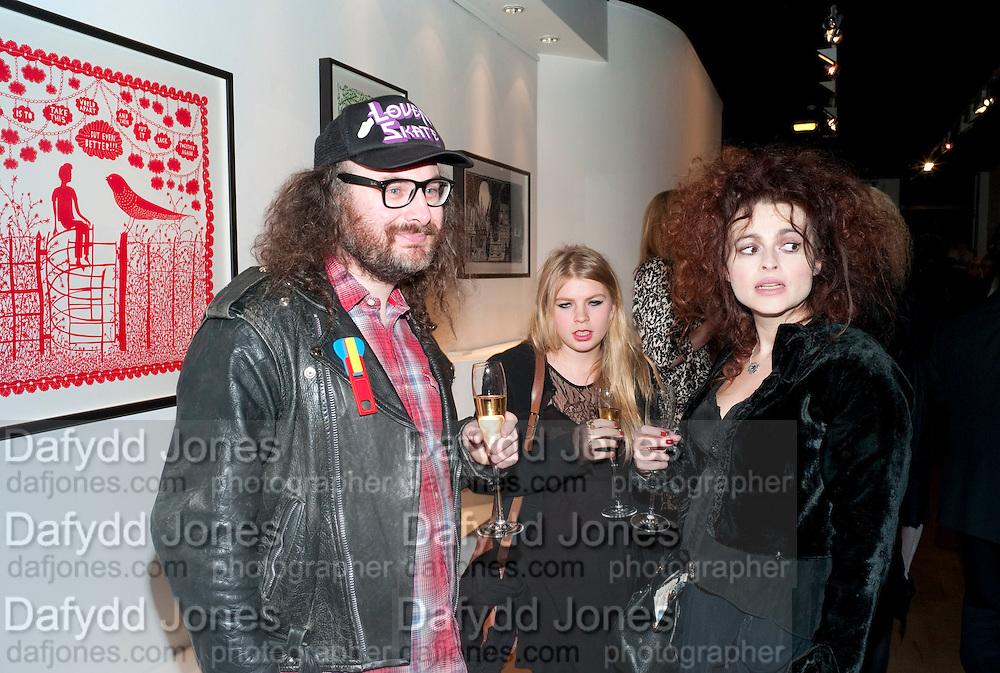 ROB RYAN; HELENA BONHAM-CARTER; ; , Lulu Guinness And Rob Ryan Fan Bag - Launch Party. Air Gallery. London. 10 November 2010.  -DO NOT ARCHIVE-© Copyright Photograph by Dafydd Jones. 248 Clapham Rd. London SW9 0PZ. Tel 0207 820 0771. www.dafjones.com.