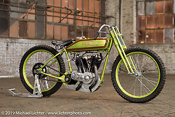 Freddie Bollwage's 1925 Harley-Davidson J Model board track racer built by Empire Cycles, engine rebuild by Matt Walksler and raced by Carey Maynell at the Congregation Show. Charlotte, NC. USA. Saturday April 14, 2018. Photography ©2018 Michael Lichter.