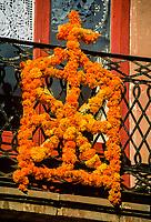 Marigold decoration, Day of the Dead, Patzcuaro, Michoacan, Mexico