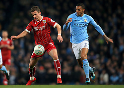 Joe Bryan of Bristol City battles for the ball with Danilo of Manchester City  - Mandatory by-line: Matt McNulty/JMP - 09/01/2018 - FOOTBALL - Etihad Stadium - Manchester, England - Manchester City v Bristol City - Carabao Cup Semi-Final First Leg