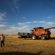 Gabe Stoltzfus takes a break time during wheat harvest. Gabe, a college student from Lancaster County, PA, is working on his third season wheat harvesting. Despite shrinking farmland and the decline of independent farmers, May through August custom harvest crews travel through America's heartland, cutting the wheat as it ripens. Crowell, Texas, May 2017.