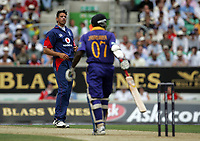 Photo: Paul Thomas.<br /> England v Sri Lanka. Natwest One Day International Series. 20/06/2006.<br /> <br /> Sajid Mahmood (L) of England is not happy with Sir Lanka's Sanath Jayasuriya after he hits Mahmood for another four.
