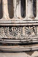 Picture of a  column frieze from the ruins of the Ancient Ionian Greek  Didyma Temple of Apollo & home to the Oracle of Apollo.  Also known as the Didymaion completed circa 550 BC. modern Didim in Aydin Province, Turkey. .<br /> <br /> If you prefer to buy from our ALAMY PHOTO LIBRARY  Collection visit : https://www.alamy.com/portfolio/paul-williams-funkystock/didyma-temple-turkey.html<br /> <br /> Visit our TURKEY PHOTO COLLECTIONS for more photos to download or buy as wall art prints https://funkystock.photoshelter.com/gallery-collection/3f-Pictures-of-Turkey-Turkey-Photos-Images-Fotos/C0000U.hJWkZxAbg