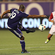 ORLANDO, FL - JUNE 18:  Julio Baptista #19 of Orlando City SC kicks the ball into the net for a goal during an MLS soccer match between the San Jose Earthquakes and the Orlando City SC at Camping World Stadium on June 18, 2016 in Orlando, Florida. (Photo by Alex Menendez/Getty Images) *** Local Caption *** Julio Baptista