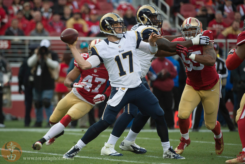 January 3, 2016; Santa Clara, CA, USA; St. Louis Rams quarterback Case Keenum (17) passes the football against the San Francisco 49ers during the first quarter at Levi's Stadium.