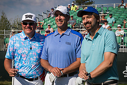 July 15, 2018 - Stateline, Nevada, U.S - JAY DEMARCUS, ROB RIGGLE and RAY ROMANO pose for a quick photo before teeing off Sunday morning, July 15, 2018, at the 29th annual American Century Championship at the Edgewood Tahoe Golf Course at Lake Tahoe, Stateline, Nevada. (Credit Image: © Tracy Barbutes via ZUMA Wire)