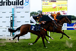 Welsh Warrior ridden by John Fahy trained by Nikki Evans and Del's Edge ridden by William Cox trained by Christopher Mason in the Novice Stakes - Mandatory by-line: Robbie Stephenson/JMP - 27/08/2019 - PR - Bath Racecourse - Bath, England - Race Meeting at Bath Racecourse