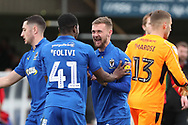 AFC Wimbledon attacker Shane McLoughlin (38) and AFC Wimbledon midfielder Anthony Wordsworth (40) celebrating during the EFL Sky Bet League 1 match between AFC Wimbledon and Doncaster Rovers at the Cherry Red Records Stadium, Kingston, England on 9 March 2019.