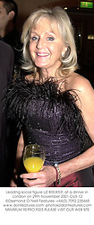 Leading social figure LIZ BREWER, at a dinner in London on 29th November 2001.		OUS 12