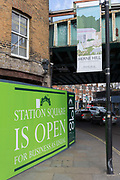 Construction and regeneration hoardings featuring local arts and community on 7th March 2017, on Station Square, Railton Road in Herne Hill, SE24, London borough of Lambeth, England. The small Victorian-era shops in Station Square, Herne Hill is undergoing a regeneration of its railway arches and local businesses have been closed by their Network Rail owners, part of the gentrification of the area which has attracted opposition and controversy.