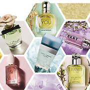 A collection of perfume and aftershaves photographed in the Hype creative photography studio for a double page spread in a magazine.