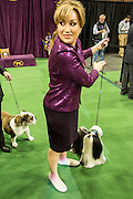 New York, NY - 16 February 2016. A Shih Tzu with a hair bow looks expectantly at its handler at the 140th Westminster Kennel Club Dog show in Madison Square Garden.