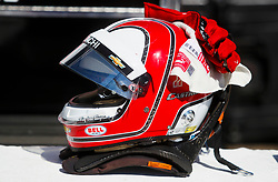 March 11, 2017 - St. Petersburg, Florida, U.S. - DIRK SHADD       Times  .The helmet of IndyCar drier Helio Castroneves rests on the wall in front of his pit area before the IndyCar practice session on day two of the Firestone Grand Prix of St. Petersburg Saturday (03/11/17) (Credit Image: © Dirk Shadd/Tampa Bay Times via ZUMA Wire)