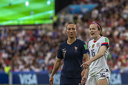 June 28, 2019 - Paris, França - PARIS, IF - 28.06.2019: FRANCE VS USA - Rose Lavelle of the United States and GaÃ«tane Thiney of France during a match between France and United States. World Cup Qualification Football. FIFA. Held at the Parc des Princes Stadium in Paris, France  (Credit Image: © Richard Callis/Fotoarena via ZUMA Press)