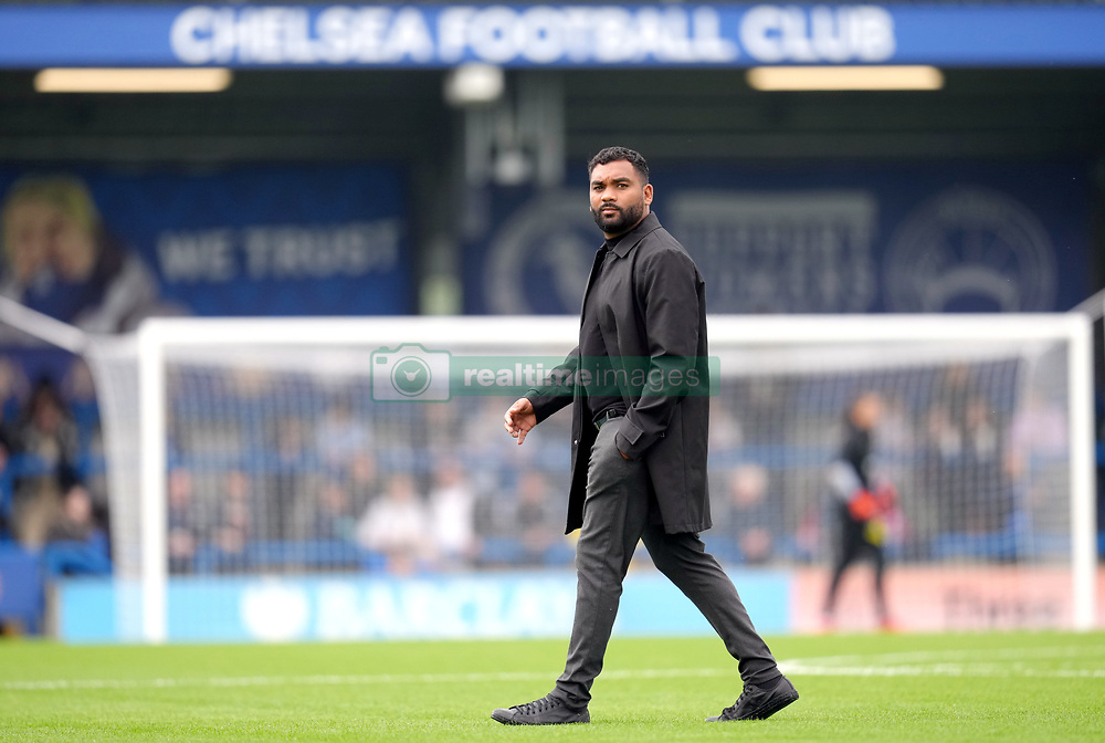 Leicester City Women's manager Jonathan Morgan prior to kick-off before the FA Women's Super League match at Kingsmeadow, London. Picture date: Sunday October 10, 2021.