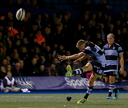 Gareth Anscombe of Cardiff Blues kicks a penalty<br /> <br /> Photographer Simon King/Replay Images<br /> <br /> Guinness PRO14 Round 4 - Cardiff Blues v Munster - Friday 21st September 2018 - Cardiff Arms Park - Cardiff<br /> <br /> World Copyright © Replay Images . All rights reserved. info@replayimages.co.uk - http://replayimages.co.uk