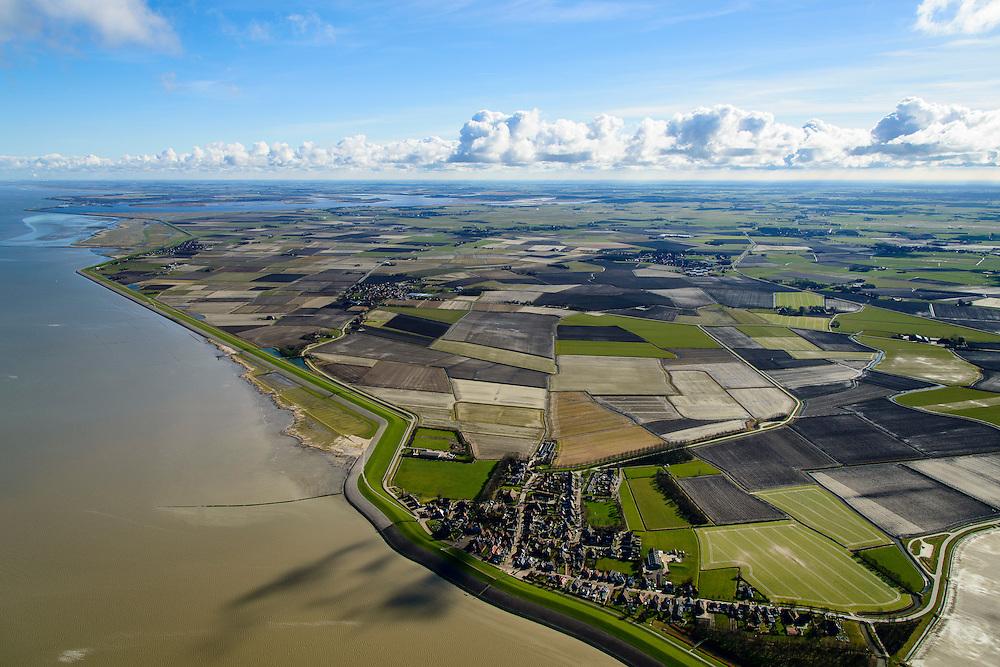 Nederland, Friesland, Gemeente Ferwerderadeel, 28-02-2016; Wierumer Wad met Wierum in de voorgrond. In de achtergrond het Lauwersmeer.<br /> De landinwaarts gelegen polders zijn in het verleden ontstaan door bedijking van de kwelders.<br /> <br /> Land reclamation, inland polders as a result of reclaiming former salt marsh area outside the dikes.<br /> <br /> luchtfoto (toeslag op standard tarieven);<br /> aerial photo (additional fee required);<br /> copyright foto/photo Siebe Swart