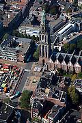 Nederland, Groningen, Groningen Stad, 08-09-2009; binnenstad met marktkramen op de Grote Markt, rechts de Martinitoren<br /> city centre with market stalls next to the City Hall, Martini tower <br /> luchtfoto (toeslag); aerial photo (additional fee required); <br /> foto/photo  Siebe Swart