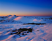 Winter sunrise from atop North Crater  of Craters  of the Moon National Monument Idaho.