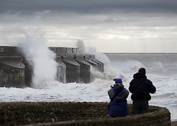 © Licensed to London News Pictures. 20/11/2016. Brighton, UK. Storm Angus whips up the sea at Brighton Marina. The south east has experienced winds of up to 80 miles per hour as the first named storm of the season hits. Photo credit: Peter Macdiarmid/LNP