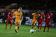 Mark Randall of Newport county scores his teams 2nd goal from a penalty.  EFL cup, 1st round match, Newport county v Milton Keynes Dons at Rodney Parade in Newport, South Wales on Tuesday 9th August 2016.<br /> pic by Andrew Orchard, Andrew Orchard sports photography.