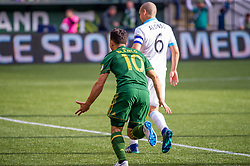 November 4, 2018 - Portland, OR, U.S. - PORTLAND, OR - NOVEMBER 04: Portland Timbers midfielder Sebastián Blanco (10) score a goal during the Portland Timbers first leg of the MLS Western Conference Semifinals against the Seattle Sounders on November 04, 2018, at Providence Park in Portland, OR. (Photo by Diego Diaz/Icon Sportswire) (Credit Image: © Diego Diaz/Icon SMI via ZUMA Press)