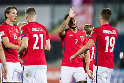 October 5, 2017 - San Marino, SAN MARINO - 171005 Sander Berge, Alexander SÂ¿rloth, Joshua King and Markus Henriksen of Norway celebrate a goal during the FIFA World Cup Qualifier match between San Marino and Norway on October 5, 2017 in San Marino. .Photo: Fredrik Varfjell / BILDBYRN / kod FV / 150027 (Credit Image: © Fredrik Varfjell/Bildbyran via ZUMA Wire)