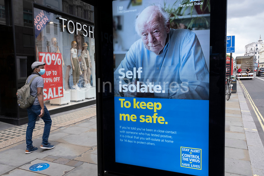 HM Government, Public Health England, NHS advertising boards advise people to take precautions under coronavirus lockdown on 1st July 2020 in London, England, United Kingdom. As the July deadline approaces and government will relax its lockdown rules further, the central London remains very quiet, while some non-essential shops are allowed to open with individual shops setting up social distancing systems.