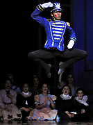 """Soldier Doll Francisco Sanchez performs during the party scene of Ballet Arts Worcester's production of """"The Nutcracker"""" at the Hanover Theatre for the Performing Arts on Friday, Nov. 28, 2014."""