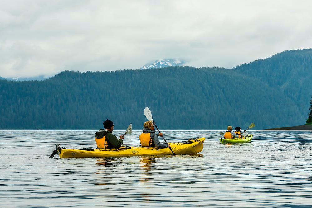 Sea kayaking, Patterson Bay,  Inside Passage, Southeast Alaska USA.