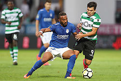 September 8, 2017 - Santa Maria Da Feira, Aveiro, Portugal - Sporting's defender Acuna (R) vies with Feirense's Brazilian forward Edson Farias (L) during the Premier League 2017/18 match between CD Feirense and Sporting CP, at Marcolino de Castro Stadium in Santa Maria da Feira on September 8, 2017. (Credit Image: © Dpi/NurPhoto via ZUMA Press)
