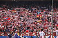Atletico de Madrid´s supporters holding flags and scarfs during 2014-15 La Liga Atletico de Madrid V Espanyol match at Vicente Calderon stadium in Madrid, Spain. October 19, 2014. (ALTERPHOTOS/Victor Blanco)
