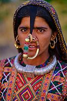 Inde, Gujarat, region du Kutch, region de Banni, femme Jat, population musulmane // India, Gujarat, Kutch, Banni district, Jat women, muslim population