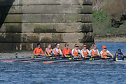Mortlake/Chiswick, GREATER LONDON. United Kingdom. Lea Rowing Club,<br /> W.MasA.8+2017 Vesta Veterans Head of the River Race, The Championship Course, Putney to Mortlake on the River Thames.<br /> <br /> <br /> Sunday  26/03/2017<br /> <br /> [Mandatory Credit; Peter SPURRIER/Intersport Images]