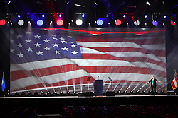 April 27, 2017 - Atlanta, GA, USA - The stage is set and tested for the keynote by President Donald J. Trump at the National Rifle Association Leadership Forum in the Georgia World Congress Center on Thursday, April 27, 2017, in Atlanta, Ga. (Credit Image: © Curtis Compton/TNS via ZUMA Wire)