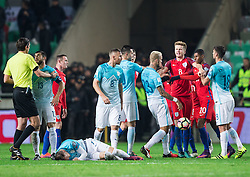 Aljaz Struna of Slovenia in fight with Eric Dier of England and Marcus Rashford of England during football match between National teams of Slovenia and England in Round #3 of FIFA World Cup Russia 2018 Qualifier Group F, on October 11, 2016 in SRC Stozice, Ljubljana, Slovenia. Photo by Vid Ponikvar / Sportida
