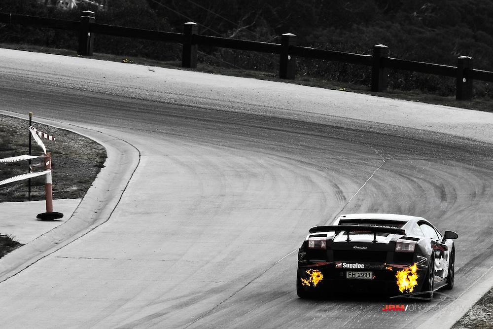 Lamborghini Superleggera continues to breath fire at Mt. Buller hill climb 2008.