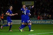 David Nugent (35)and his team mates celebrate their second goal for Leicester City during the Skybet Championship match, Yeovil Town v Leicester City at Huish Park Stadium in Yeovil on Tuesday 1st October 2013. Picture by Sophie Elbourn, Andrew Orchard Sports Photography,